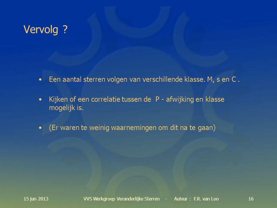 15 jun 201316VVS Werkgroep Veranderlijke Sterren - Auteur : F.R.