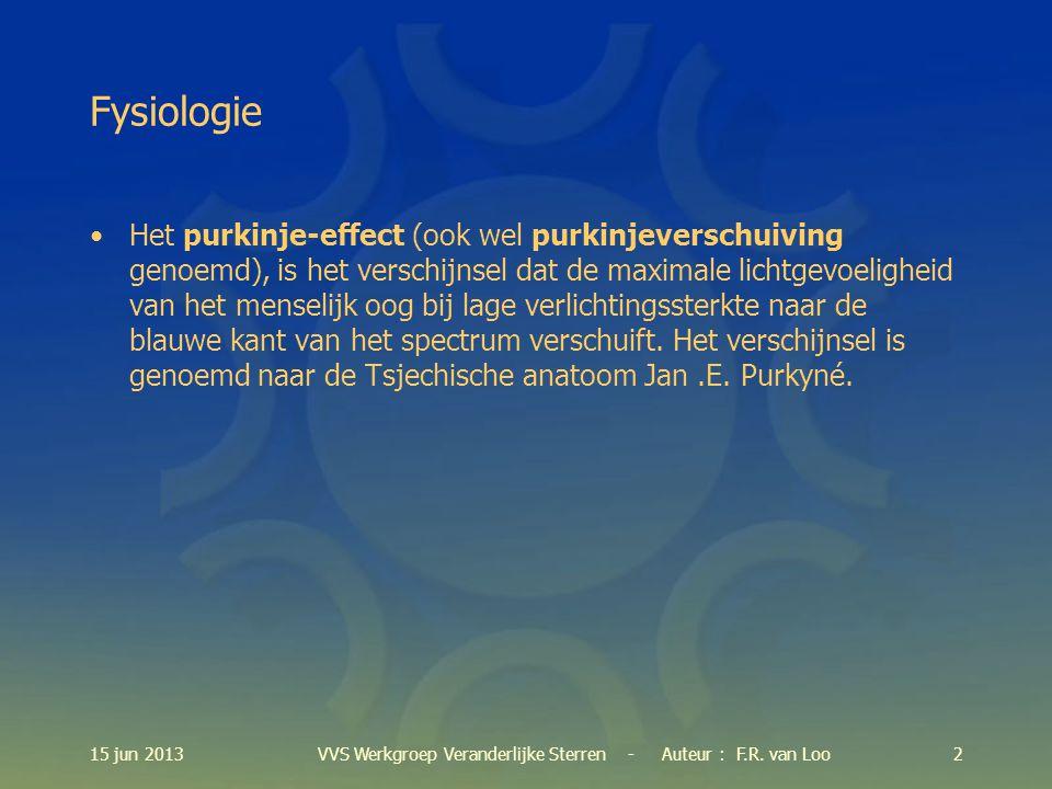 15 jun 201313VVS Werkgroep Veranderlijke Sterren - Auteur : F.R. van Loo