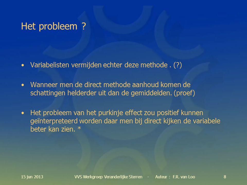 15 jun 20139VVS Werkgroep Veranderlijke Sterren - Auteur : F.R.