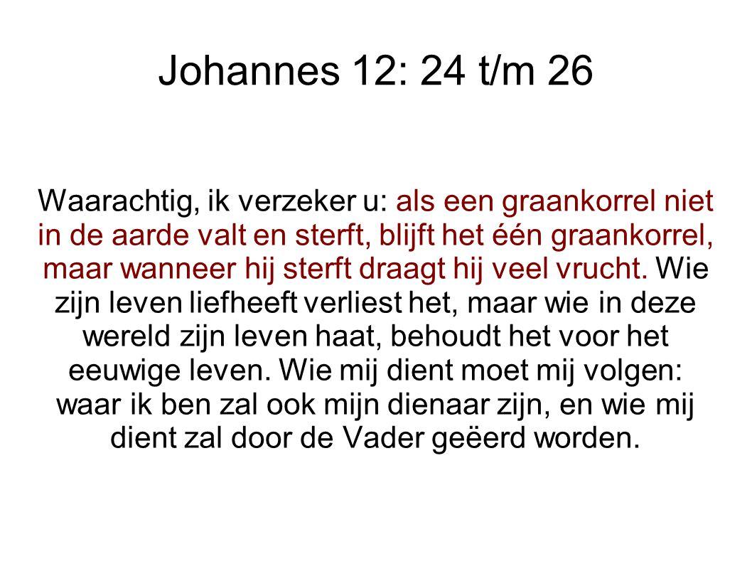 Johannes 12: 24 t/m 26 Waarachtig, ik verzeker u: als een graankorrel niet in de aarde valt en sterft, blijft het één graankorrel, maar wanneer hij sterft draagt hij veel vrucht.