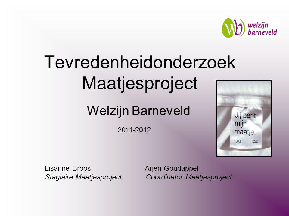 Welzijn Barneveld Lisanne Broos Arjen Goudappel Stagiaire Maatjesproject Coördinator Maatjesproject Tevredenheidonderzoek Maatjesproject 2011-2012