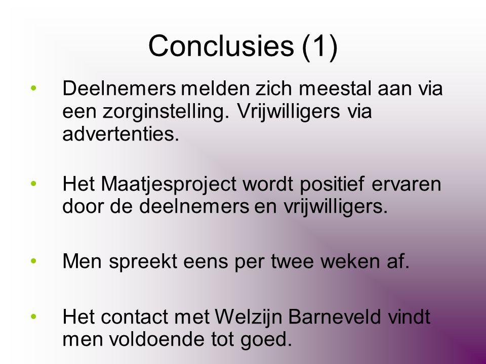 Conclusies (1) •Deelnemers melden zich meestal aan via een zorginstelling. Vrijwilligers via advertenties. •Het Maatjesproject wordt positief ervaren