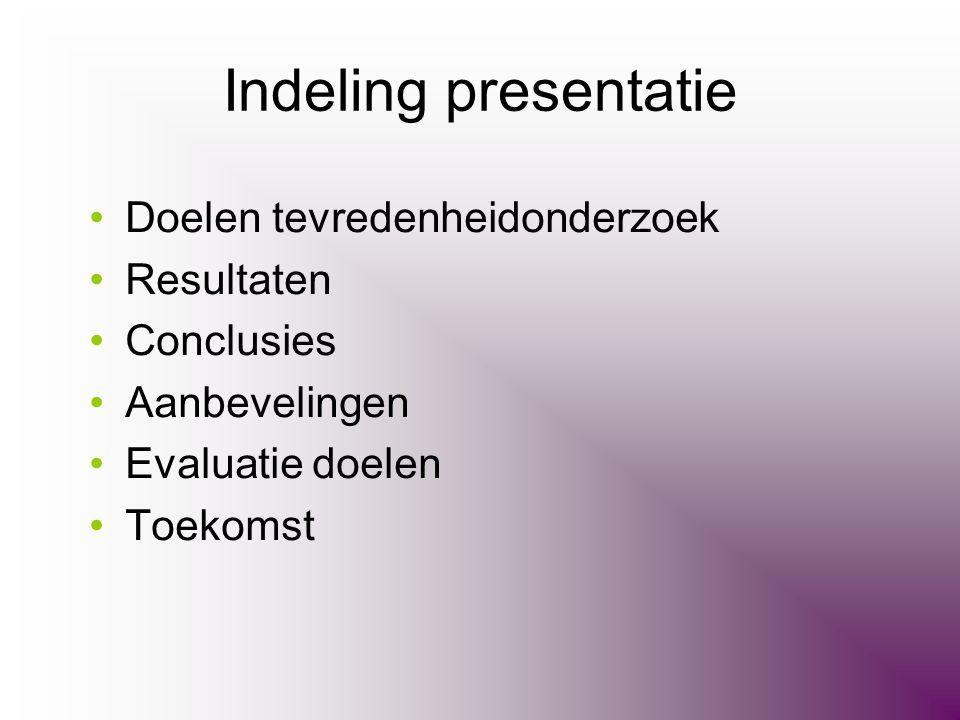 Indeling presentatie •Doelen tevredenheidonderzoek •Resultaten •Conclusies •Aanbevelingen •Evaluatie doelen •Toekomst