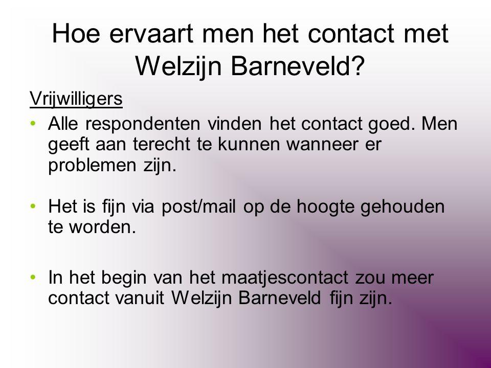 Hoe ervaart men het contact met Welzijn Barneveld? Vrijwilligers •Alle respondenten vinden het contact goed. Men geeft aan terecht te kunnen wanneer e