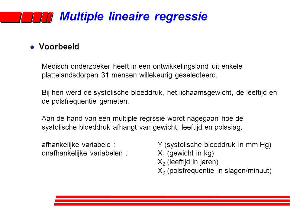 Multiple lineaire regressie l Voorbeeld Medisch onderzoeker heeft in een ontwikkelingsland uit enkele plattelandsdorpen 31 mensen willekeurig geselect