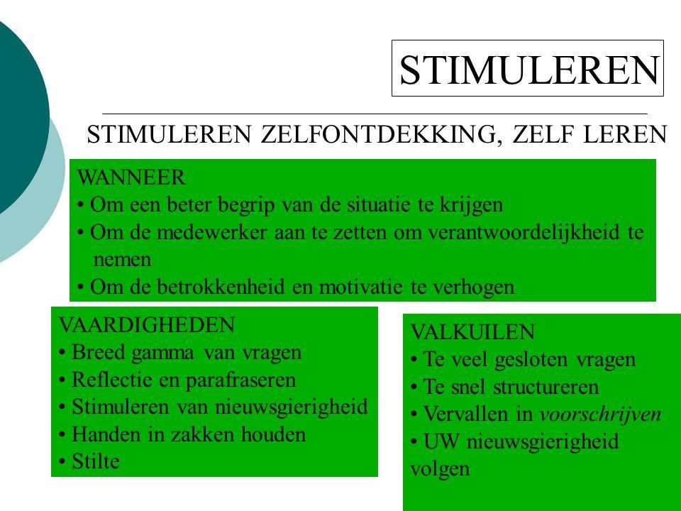 STIMULEREN STIMULEREN ZELFONTDEKKING, ZELF LEREN WANNEER • Om een beter begrip van de situatie te krijgen • Om de medewerker aan te zetten om verantwo