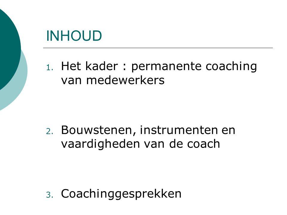 INHOUD 1. Het kader : permanente coaching van medewerkers 2. Bouwstenen, instrumenten en vaardigheden van de coach 3. Coachinggesprekken