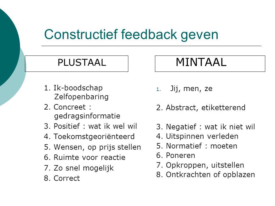 Constructief feedback geven PLUSTAAL 1. Ik-boodschap Zelfopenbaring 2. Concreet : gedragsinformatie 3. Positief : wat ik wel wil 4. Toekomstgeoriëntee