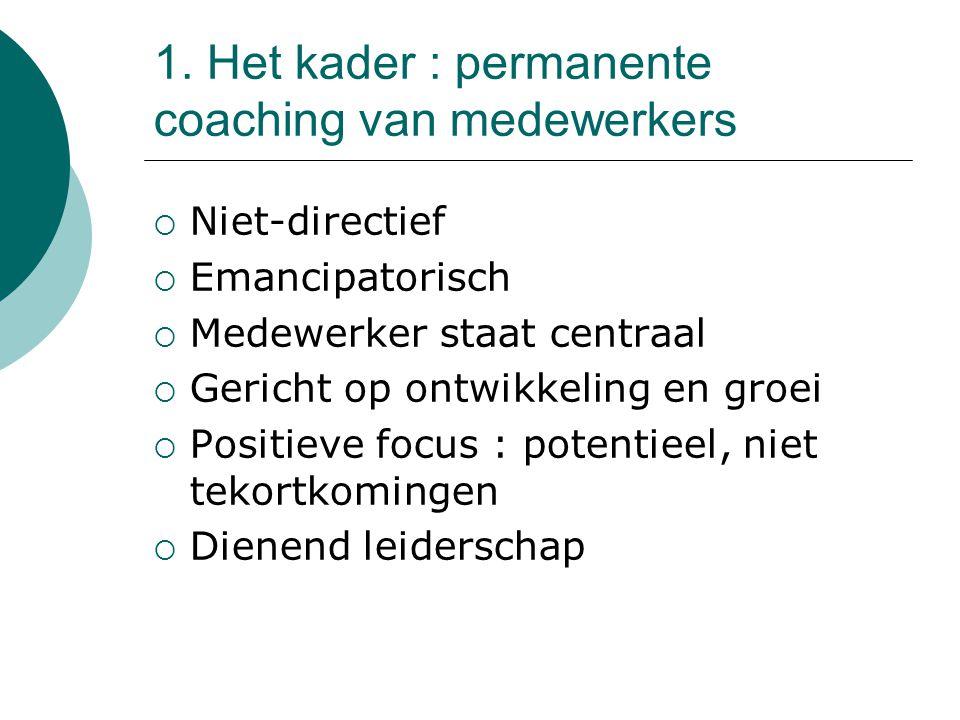 1. Het kader : permanente coaching van medewerkers  Niet-directief  Emancipatorisch  Medewerker staat centraal  Gericht op ontwikkeling en groei 
