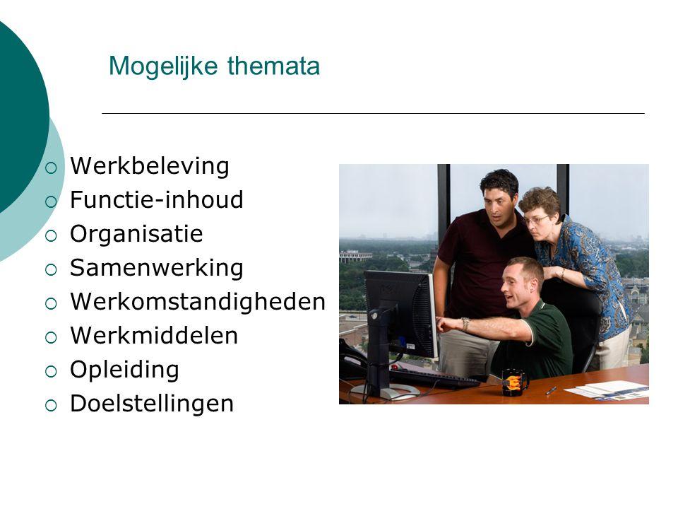 Mogelijke themata  Werkbeleving  Functie-inhoud  Organisatie  Samenwerking  Werkomstandigheden  Werkmiddelen  Opleiding  Doelstellingen