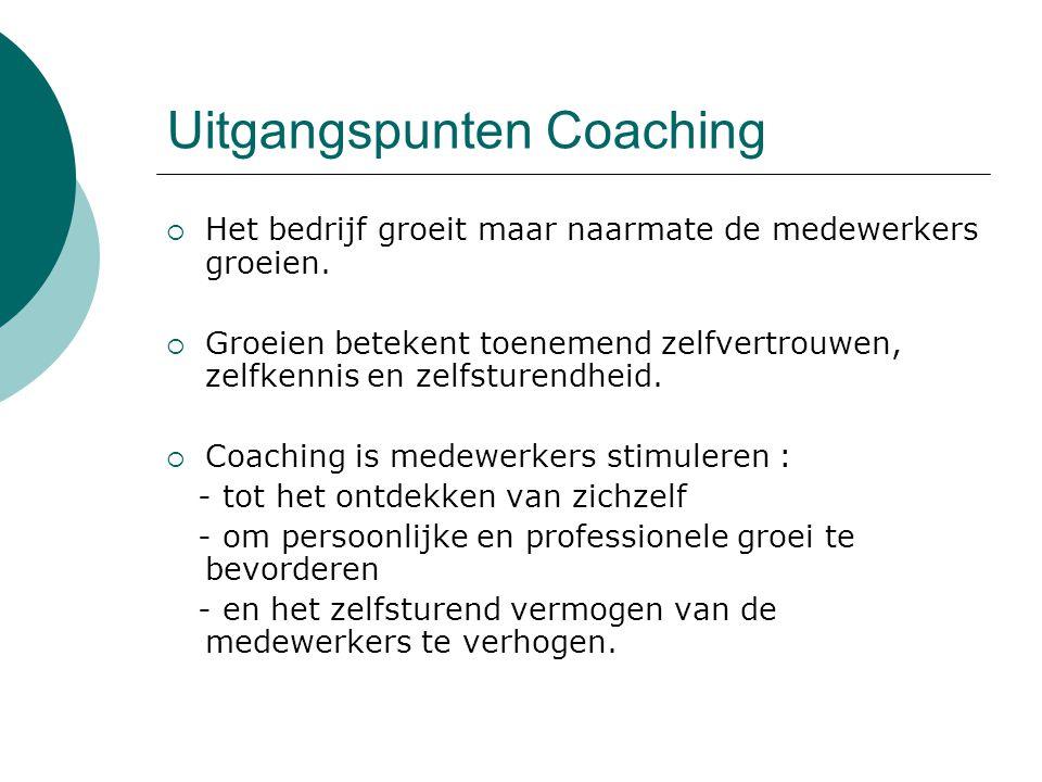 Uitgangspunten Coaching  Het bedrijf groeit maar naarmate de medewerkers groeien.  Groeien betekent toenemend zelfvertrouwen, zelfkennis en zelfstur