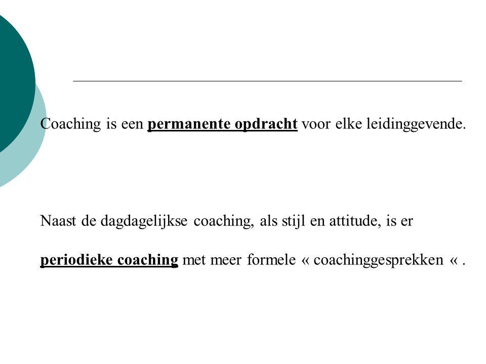 Coaching is een permanente opdracht voor elke leidinggevende. Naast de dagdagelijkse coaching, als stijl en attitude, is er periodieke coaching met me