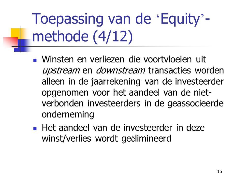 15 Toepassing van de ' Equity ' - methode (4/12)  Winsten en verliezen die voortvloeien uit upstream en downstream transacties worden alleen in de jaarrekening van de investeerder opgenomen voor het aandeel van de niet- verbonden investeerders in de geassocieerde onderneming  Het aandeel van de investeerder in deze winst/verlies wordt ge ë limineerd