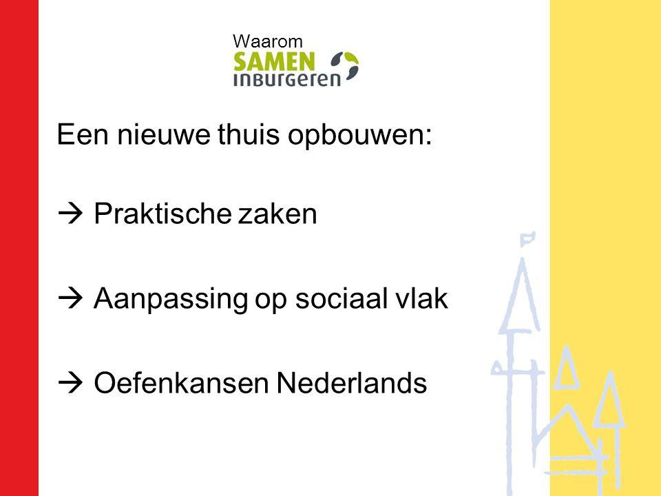 Een nieuwe thuis opbouwen:  Praktische zaken  Aanpassing op sociaal vlak  Oefenkansen Nederlands Waarom