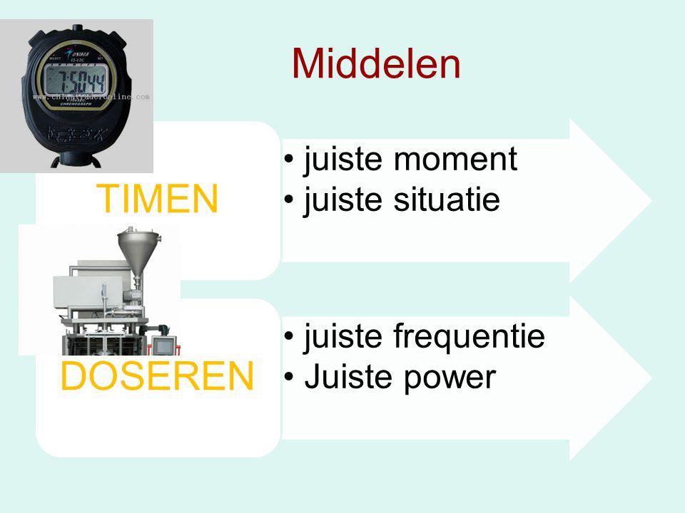 Middelen •juiste moment •juiste situatie TIMEN •juiste frequentie •Juiste power DOSEREN