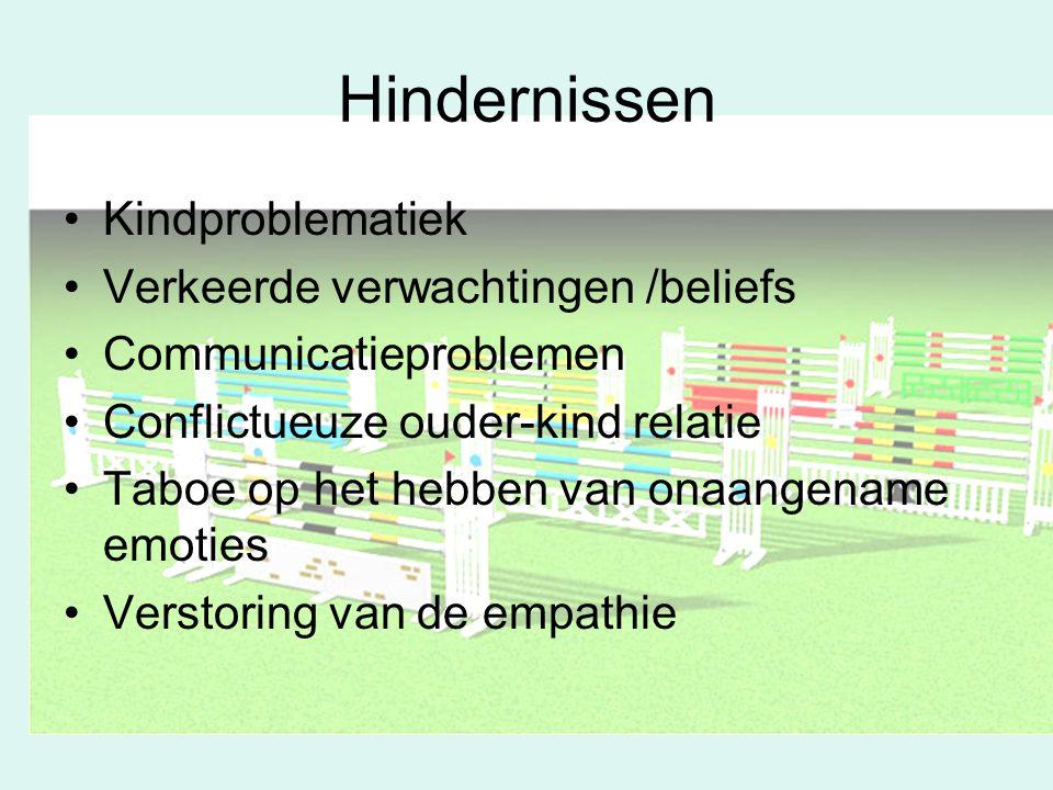 Hindernissen •Kindproblematiek •Verkeerde verwachtingen /beliefs •Communicatieproblemen •Conflictueuze ouder-kind relatie •Taboe op het hebben van ona