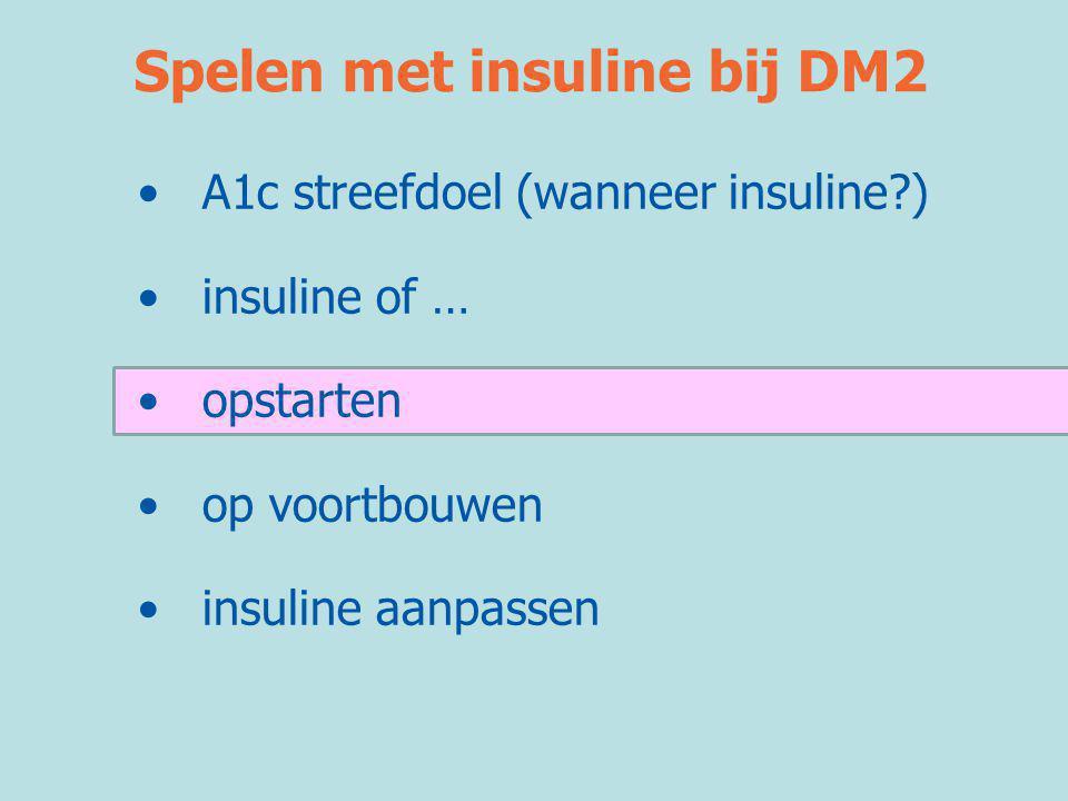 Spelen met insuline bij DM2 •A1c streefdoel (wanneer insuline?) •insuline of … •opstarten •op voortbouwen •insuline aanpassen