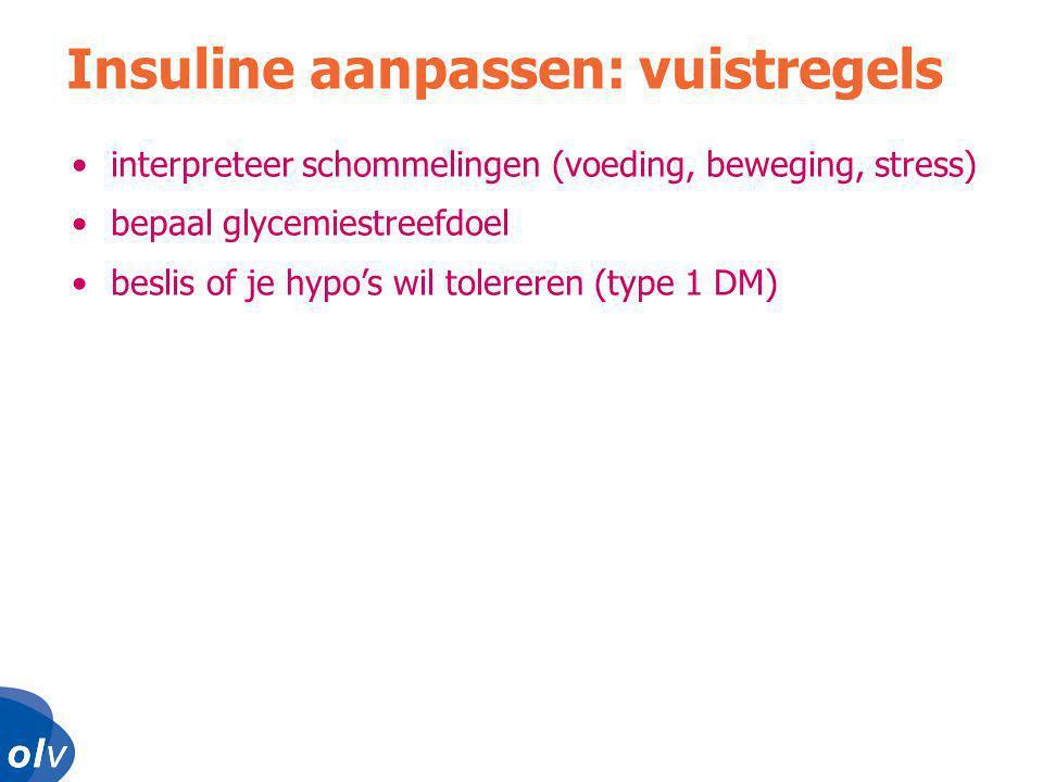o l vo l vo l vo l v •interpreteer schommelingen (voeding, beweging, stress) •bepaal glycemiestreefdoel •beslis of je hypo's wil tolereren (type 1 DM) Insuline aanpassen: vuistregels
