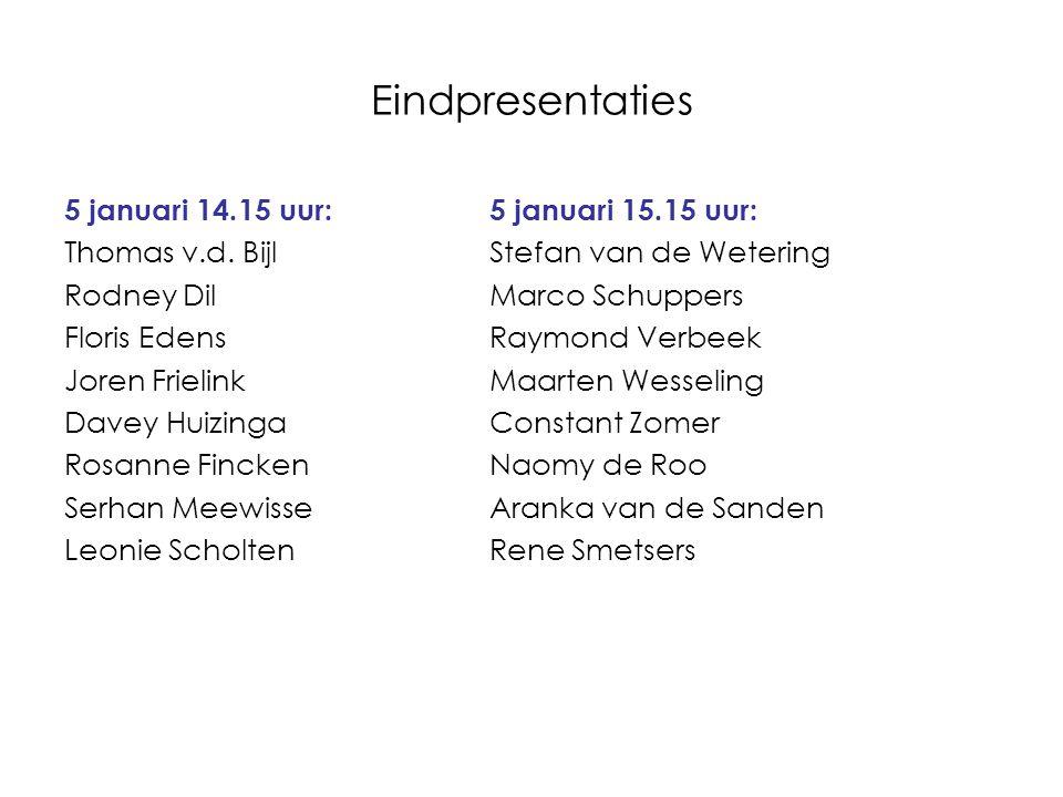 Eindpresentaties 5 januari 14.15 uur:5 januari 15.15 uur: Thomas v.d. BijlStefan van de Wetering Rodney DilMarco Schuppers Floris EdensRaymond Verbeek