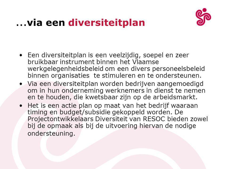 … via een diversiteitplan •Een diversiteitplan is een veelzijdig, soepel en zeer bruikbaar instrument binnen het Vlaamse werkgelegenheidsbeleid om een divers personeelsbeleid binnen organisaties te stimuleren en te ondersteunen.