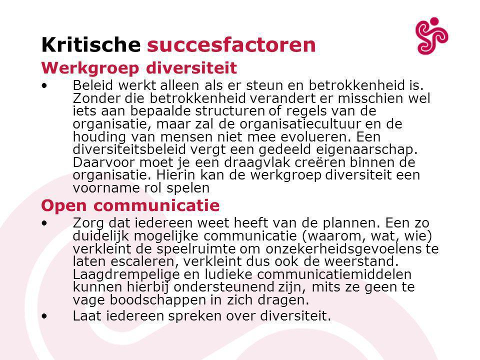 Kritische succesfactoren Werkgroep diversiteit •Beleid werkt alleen als er steun en betrokkenheid is.