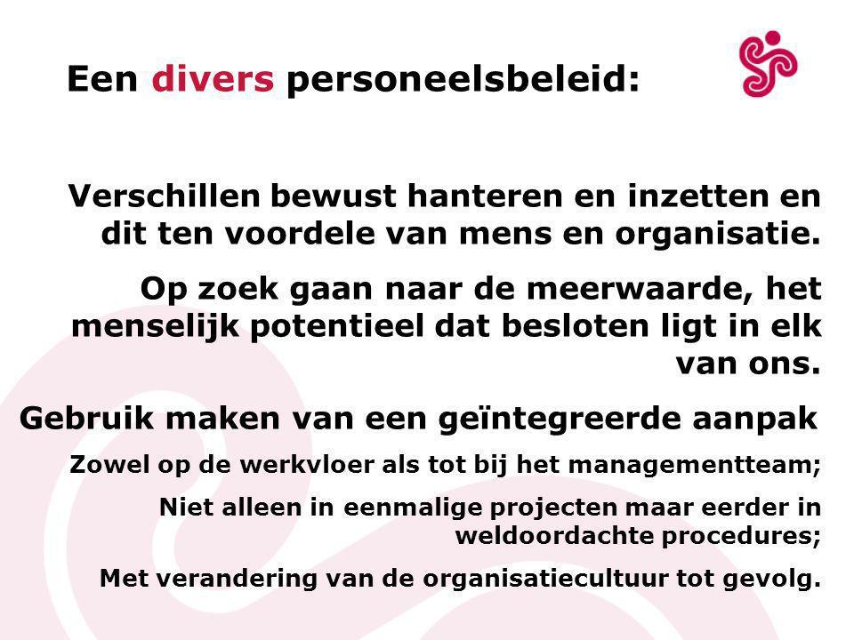 Een divers personeelsbeleid: Verschillen bewust hanteren en inzetten en dit ten voordele van mens en organisatie.