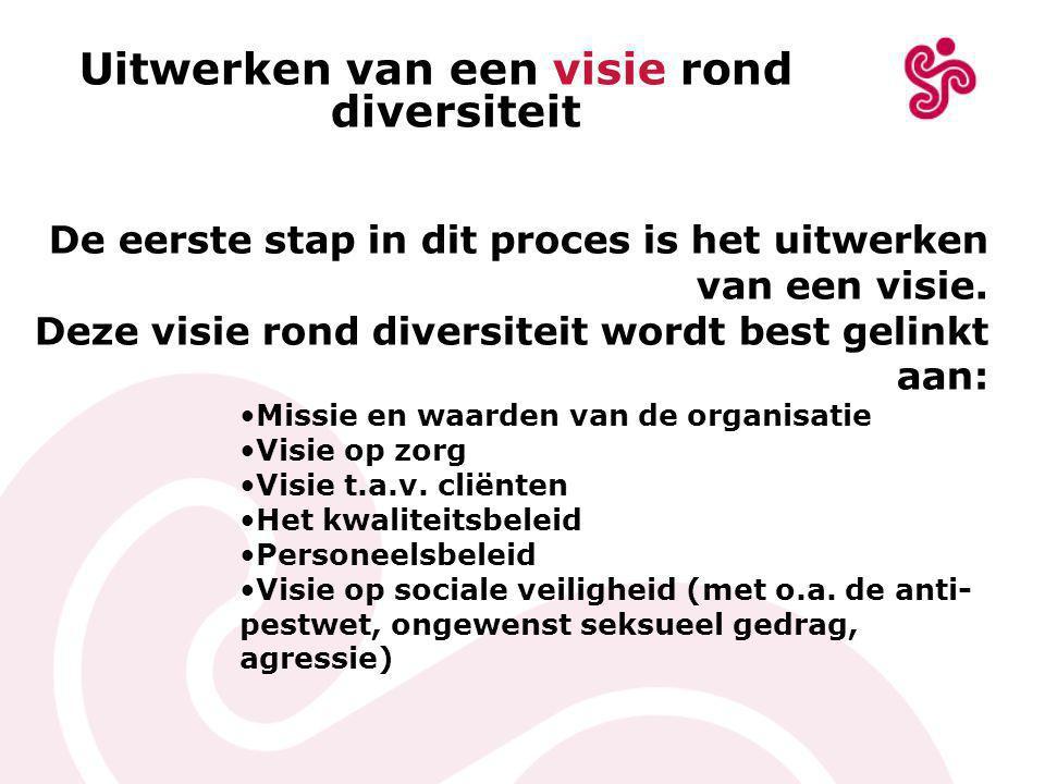 Uitwerken van een visie rond diversiteit De eerste stap in dit proces is het uitwerken van een visie.