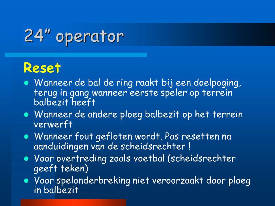 """24"""" operator Reset  Wanneer de bal de ring raakt bij een doelpoging, terug in gang wanneer eerste speler op terrein balbezit heeft  Wanneer de ander"""