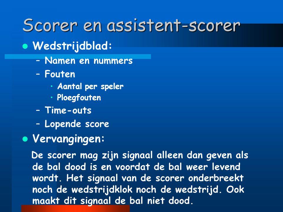 Scorer en assistent-scorer  Wedstrijdblad: –Namen en nummers –Fouten •Aantal per speler •Ploegfouten –Time-outs –Lopende score  Vervangingen: De sco