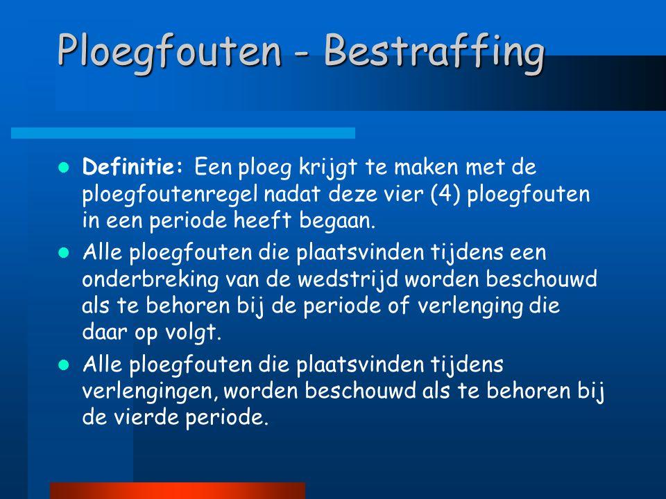 Ploegfouten - Bestraffing  Definitie: Een ploeg krijgt te maken met de ploegfoutenregel nadat deze vier (4) ploegfouten in een periode heeft begaan.