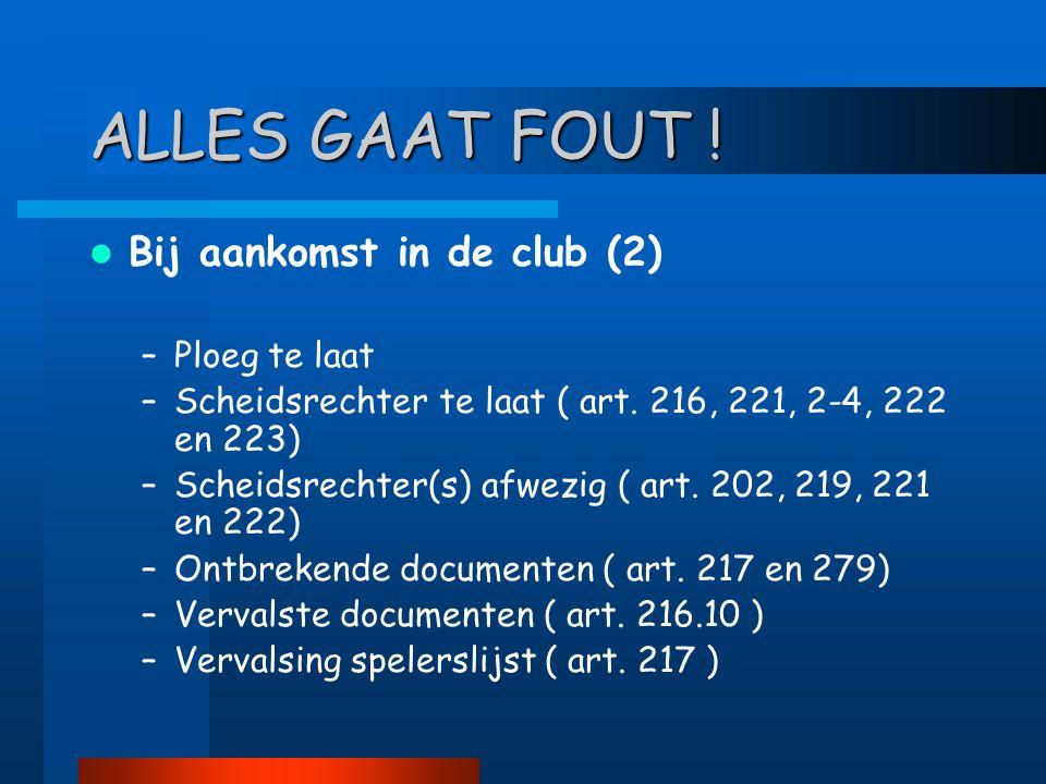 ALLES GAAT FOUT !  Bij aankomst in de club (2) –Ploeg te laat –Scheidsrechter te laat ( art. 216, 221, 2-4, 222 en 223) –Scheidsrechter(s) afwezig (