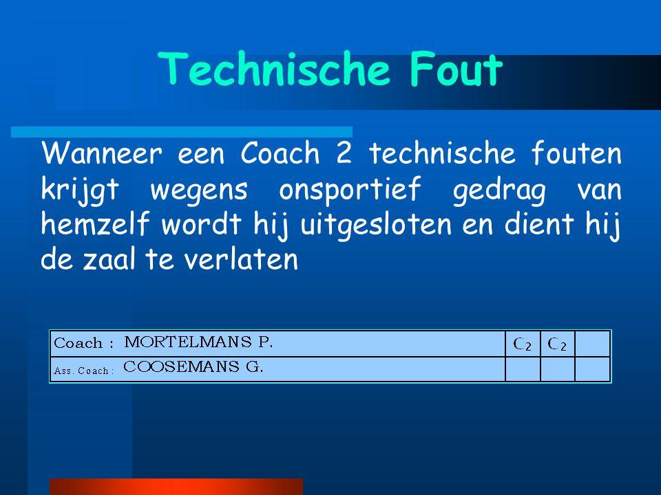 Wanneer een Coach 2 technische fouten krijgt wegens onsportief gedrag van hemzelf wordt hij uitgesloten en dient hij de zaal te verlaten Technische Fout
