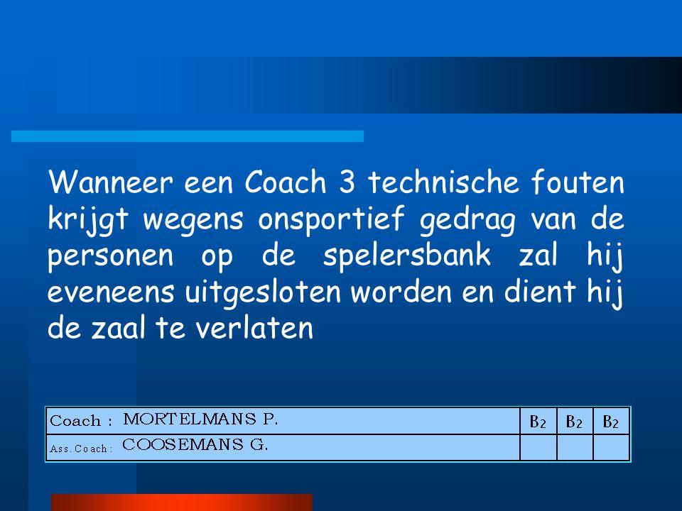Wanneer een Coach 3 technische fouten krijgt wegens onsportief gedrag van de personen op de spelersbank zal hij eveneens uitgesloten worden en dient hij de zaal te verlaten