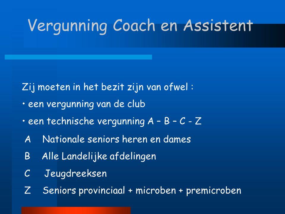 Vergunning Coach en Assistent Zij moeten in het bezit zijn van ofwel : • een vergunning van de club • een technische vergunning A – B – C - Z A Nation