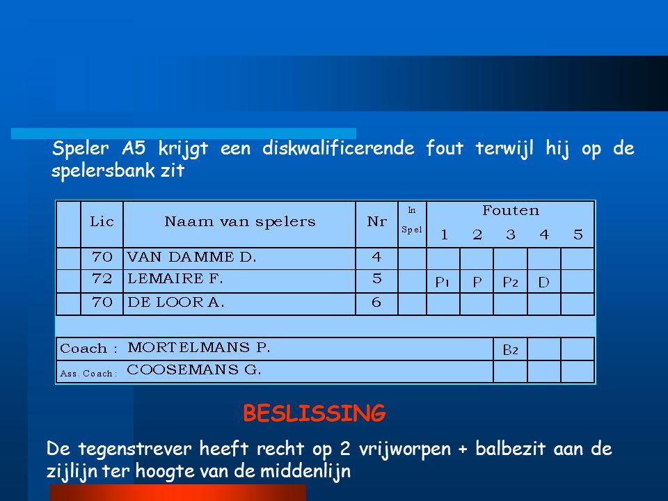 Speler A5 krijgt een diskwalificerende fout terwijl hij op de spelersbank zit De tegenstrever heeft recht op 2 vrijworpen + balbezit aan de zijlijn ter hoogte van de middenlijn BESLISSING