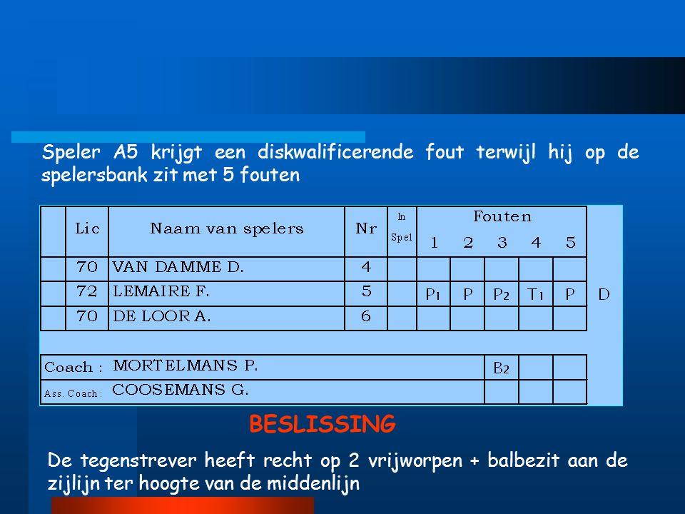 Speler A5 krijgt een diskwalificerende fout terwijl hij op de spelersbank zit met 5 fouten De tegenstrever heeft recht op 2 vrijworpen + balbezit aan