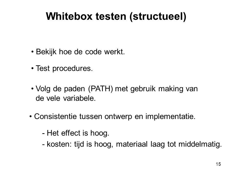 15 Whitebox testen (structueel) • Bekijk hoe de code werkt. • Test procedures. •Volg de paden (PATH) met gebruik making van de vele variabele. • Consi