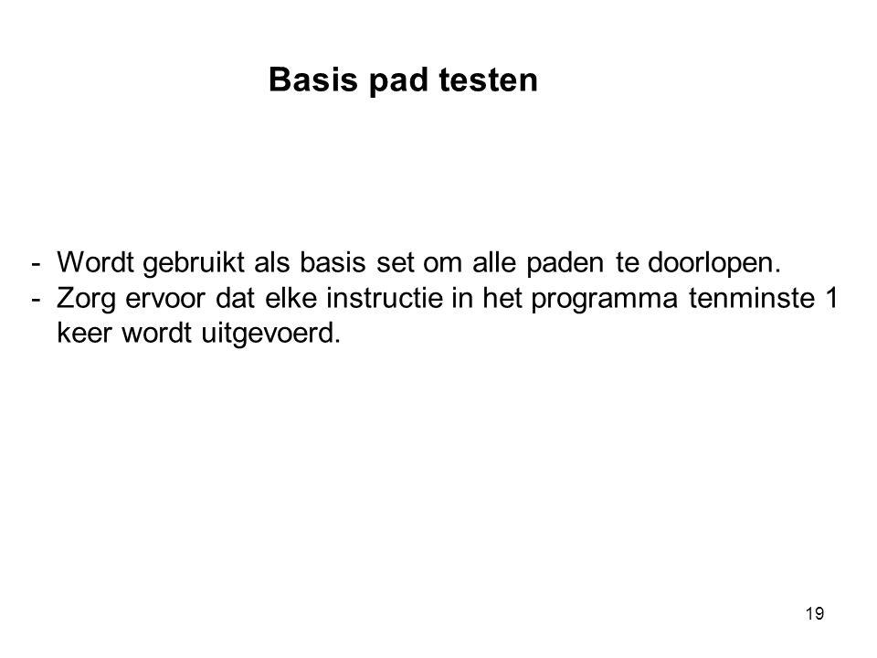 19 Basis pad testen -Wordt gebruikt als basis set om alle paden te doorlopen. -Zorg ervoor dat elke instructie in het programma tenminste 1 keer wordt
