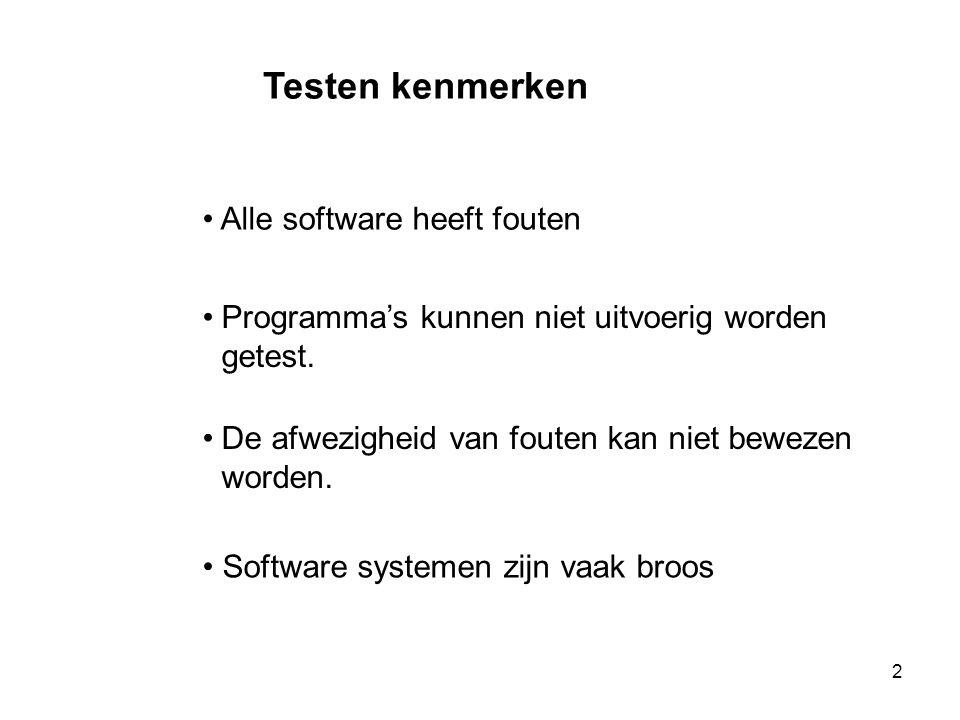 2 Testen kenmerken • Alle software heeft fouten •Programma's kunnen niet uitvoerig worden getest. •De afwezigheid van fouten kan niet bewezen worden.