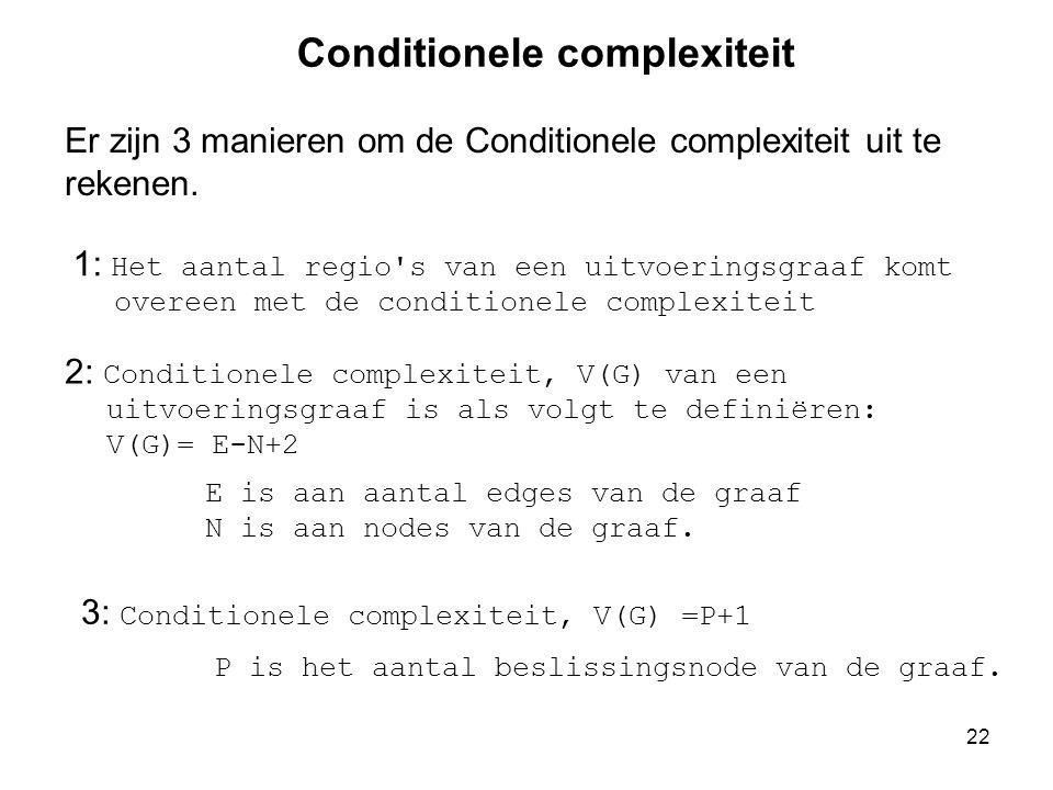22 Conditionele complexiteit 1: Het aantal regio's van een uitvoeringsgraaf komt overeen met de conditionele complexiteit 2: Conditionele complexiteit