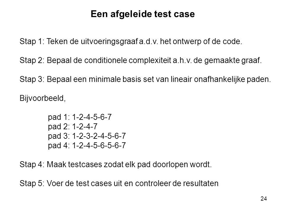 24 Stap 1: Teken de uitvoeringsgraaf a.d.v. het ontwerp of de code. Stap 2: Bepaal de conditionele complexiteit a.h.v. de gemaakte graaf. Stap 3: Bepa