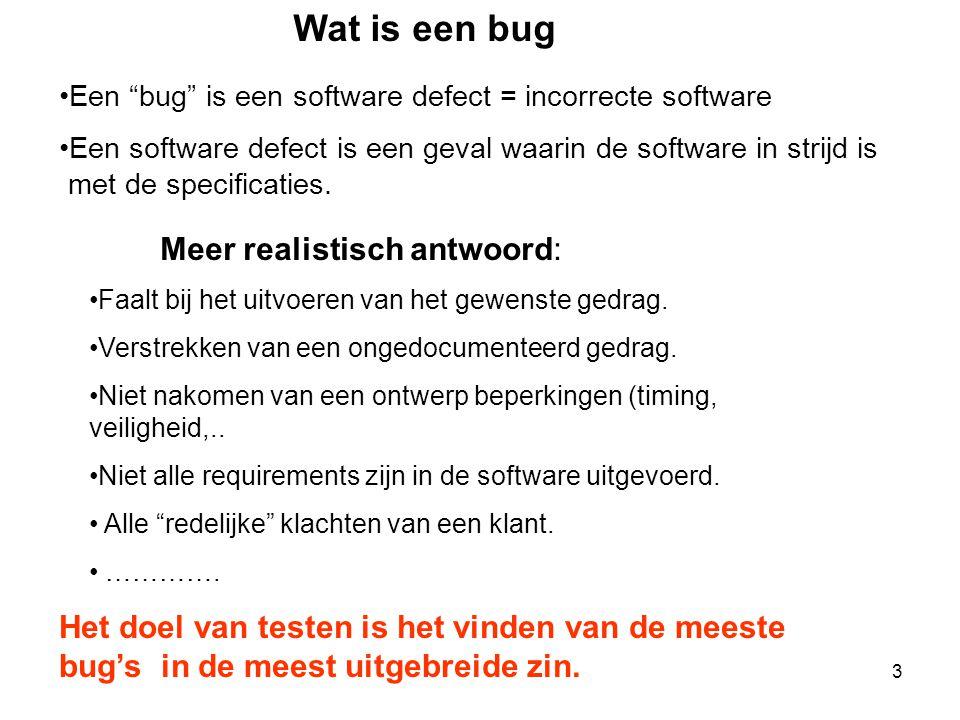 """3 Wat is een bug •Een """"bug"""" is een software defect = incorrecte software •Een software defect is een geval waarin de software in strijd is met de spec"""