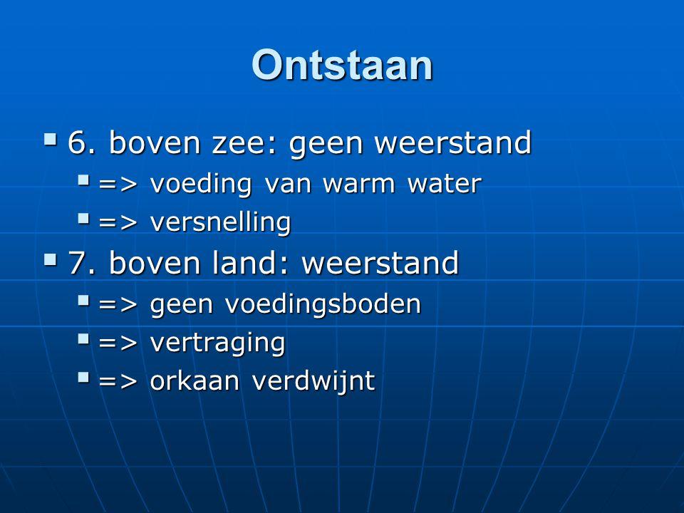 Ontstaan  6.boven zee: geen weerstand  => voeding van warm water  => versnelling  7.