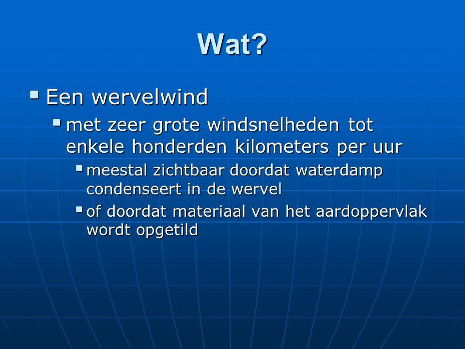 Wat?  Een wervelwind  met zeer grote windsnelheden tot enkele honderden kilometers per uur  meestal zichtbaar doordat waterdamp condenseert in de w