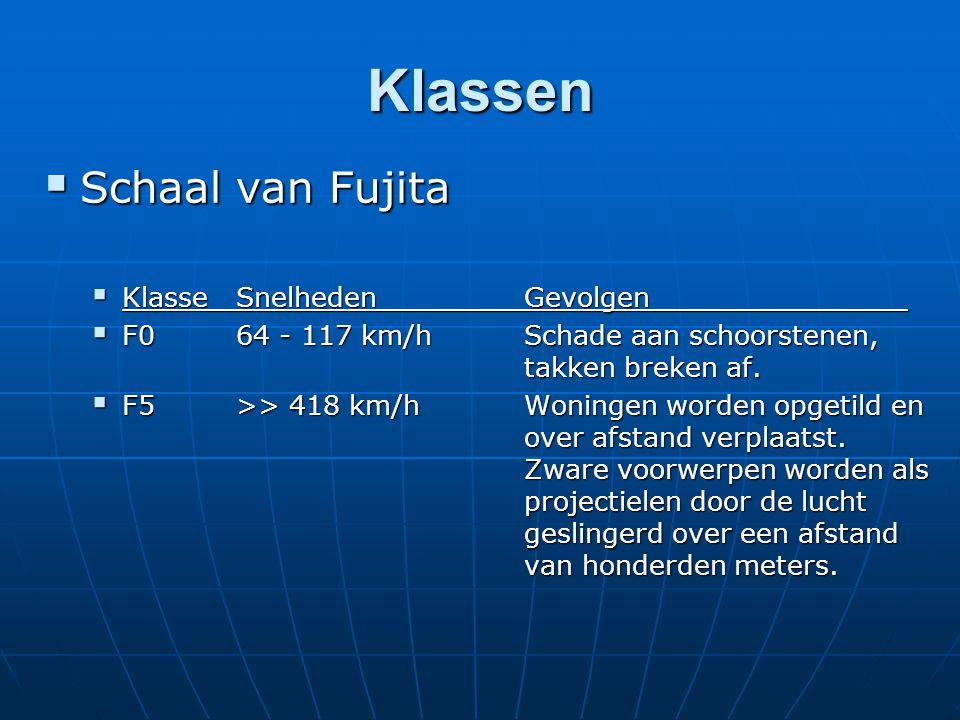 Klassen  Schaal van Fujita  Klasse SnelhedenGevolgen  F0 64 - 117 km/h Schade aan schoorstenen, takken breken af.