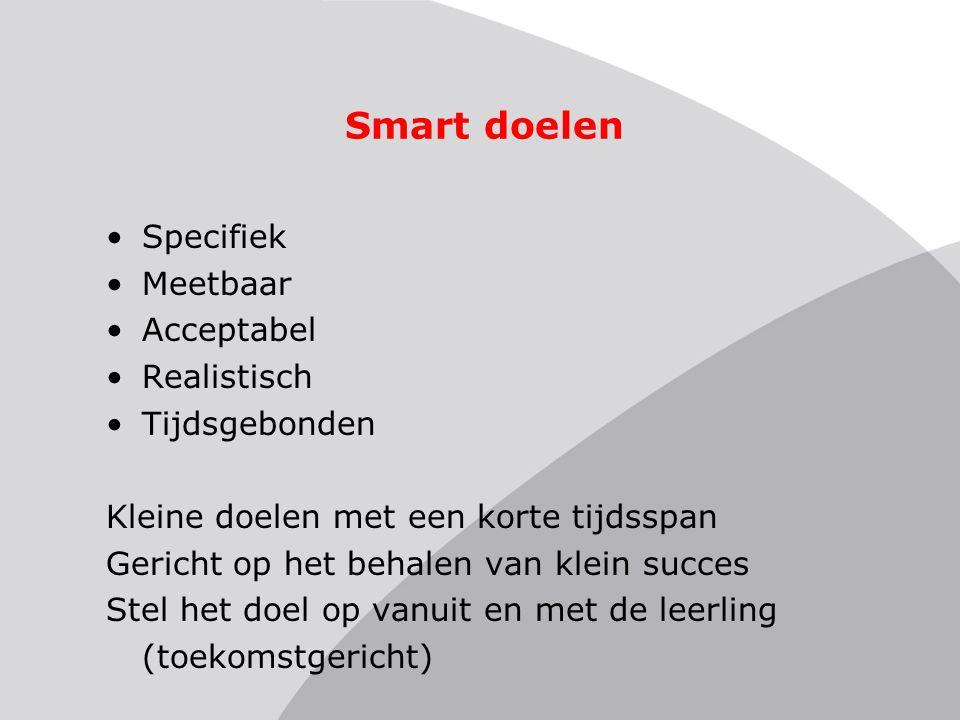Smart doelen •Specifiek •Meetbaar •Acceptabel •Realistisch •Tijdsgebonden Kleine doelen met een korte tijdsspan Gericht op het behalen van klein succe