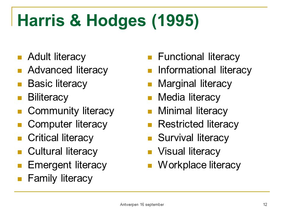 Harris & Hodges (1995)  Adult literacy  Advanced literacy  Basic literacy  Biliteracy  Community literacy  Computer literacy  Critical literacy