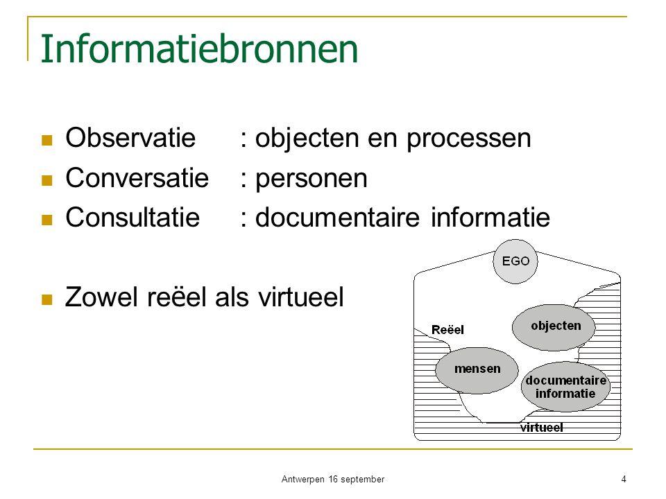 Informatiebronnen  Observatie: objecten en processen  Conversatie: personen  Consultatie: documentaire informatie  Zowel re ë el als virtueel Antw