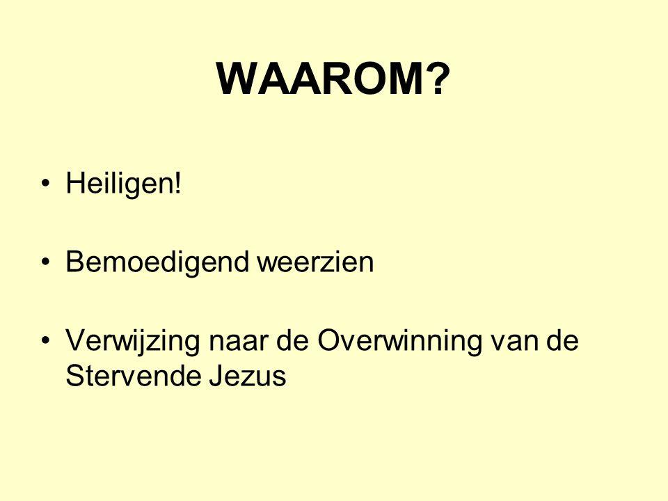 WAAROM? •Heiligen! •Bemoedigend weerzien •Verwijzing naar de Overwinning van de Stervende Jezus