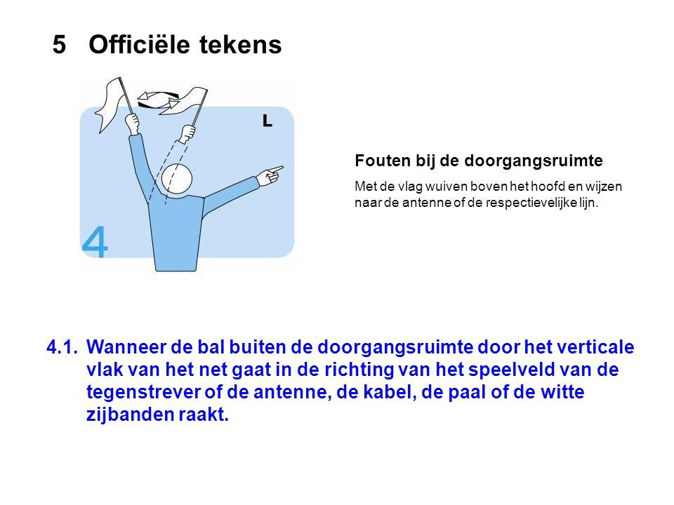 4.1.Wanneer de bal buiten de doorgangsruimte door het verticale vlak van het net gaat in de richting van het speelveld van de tegenstrever of de anten